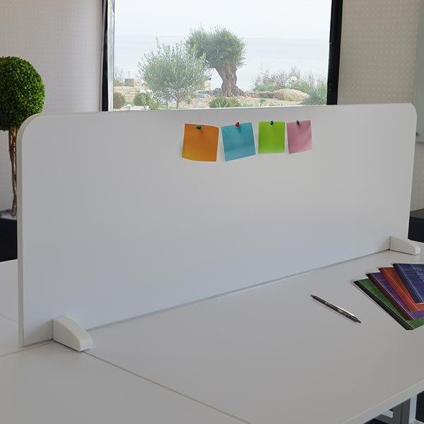 Cloisonnette de séparation blanche à poser sur bureaux bench 160 cm face-face