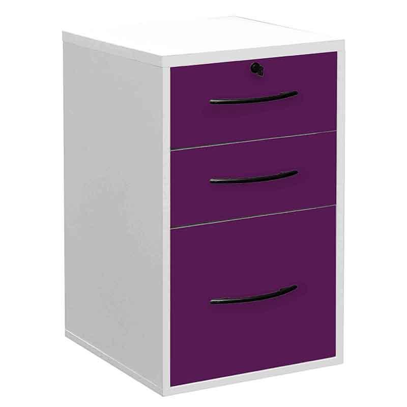 Classeur 3 tiroirs (2 papeterie + 1 doss. Suspendus) - livré monté - blanc/prune