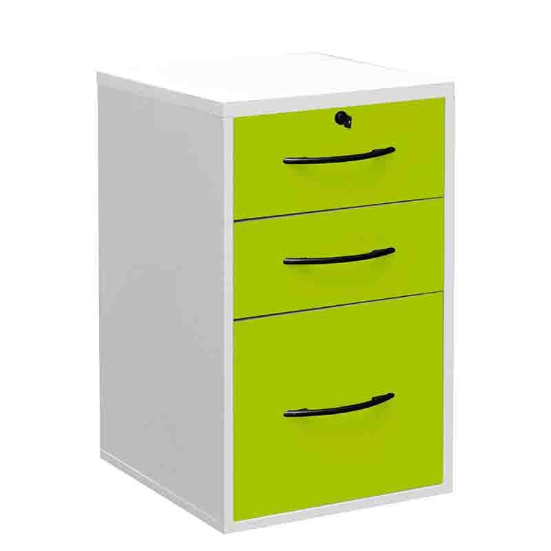 Classeur 3 tiroirs (2 papeterie + 1 doss. Suspendus) - livré monté - blanc/anis