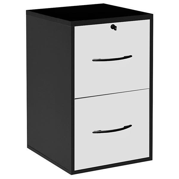 Classeur 2 tiroirs doss. Suspendus - livré monté - noir/blanc