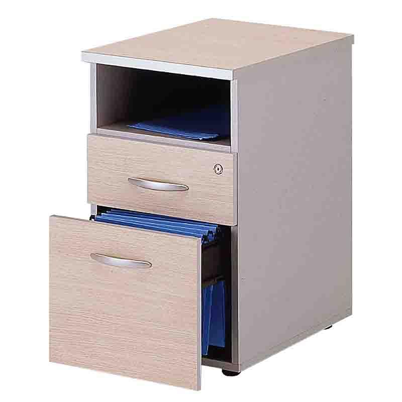 Caisson fixe hauteur de bureau 2 tiroirs (papeterie + doss. Susp. + niche) chêne