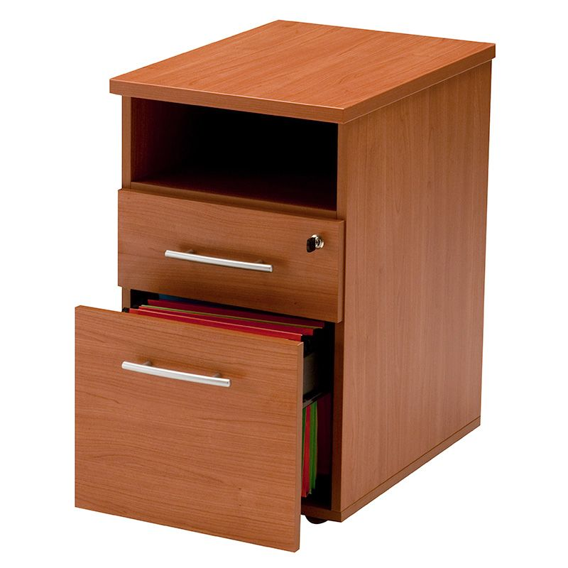 Caisson fixe hauteur de bureau 2 tiroirs (papeterie+doss. Susp.+niche) merisier