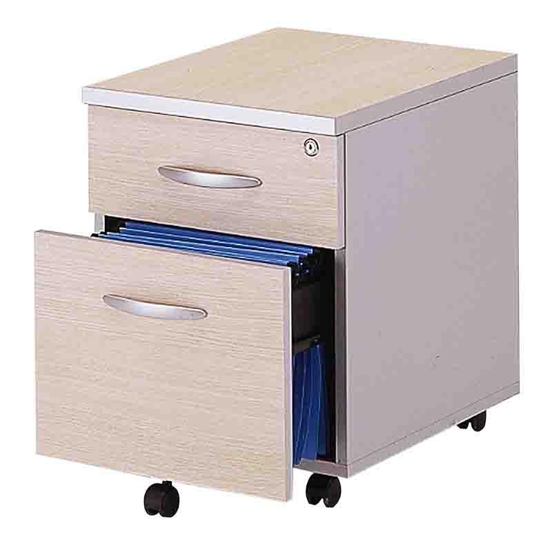 Caisson mobile 2 tiroirs (1 papeterie + 1 doss. Suspendus) chêne clair