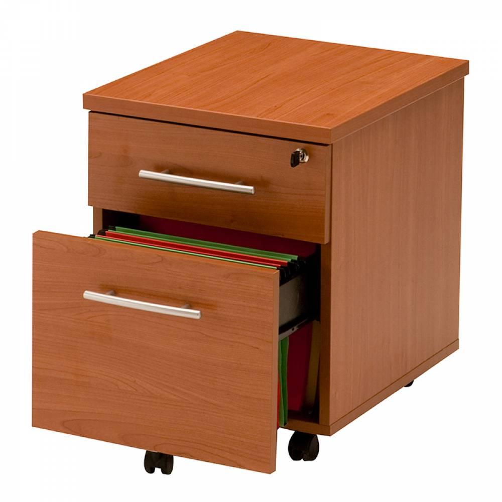 Caisson mobile 2 tiroirs (1 papeterie + 1 doss. Suspendus) merisier