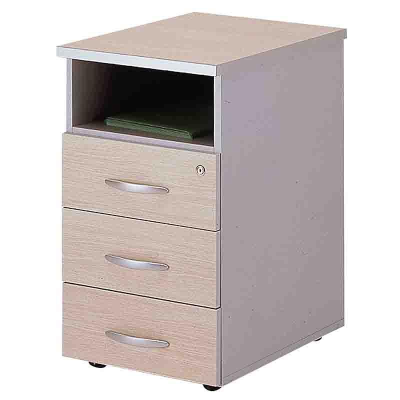 Caisson fixe hauteur de bureau 3 tiroirs papeterie + 1 niche chêne clair