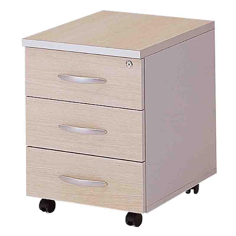 Caisson mobile 3 tiroirs papeterie chêne clair