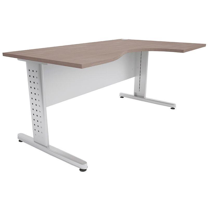 Bureau compact 160 cm retour à droite chêne clair/aluminium