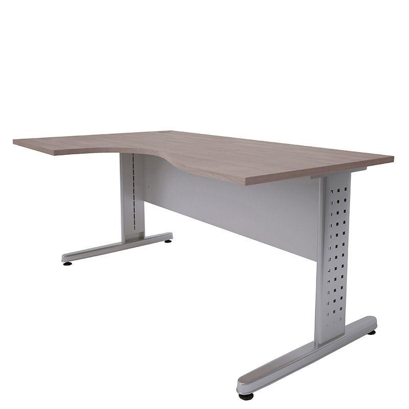 Bureau compact 160 cm retour à gauche chêne clair/aluminium