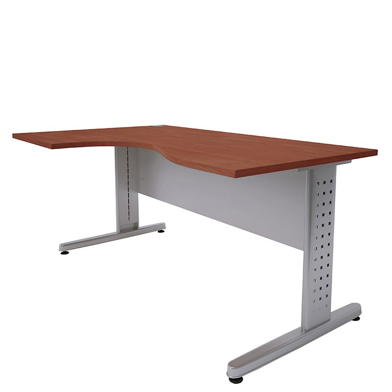 Bureau compact 160 cm retour à gauche merisier/aluminium