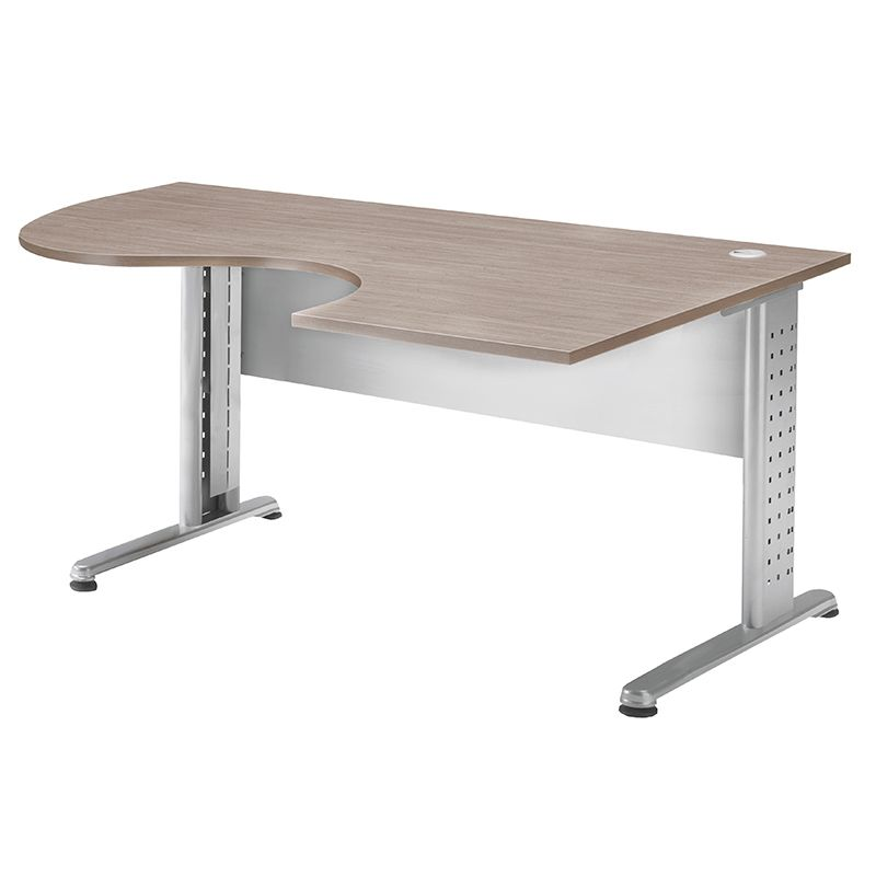 Bureau compact 180 cm retour à droite chêne clair/aluminium