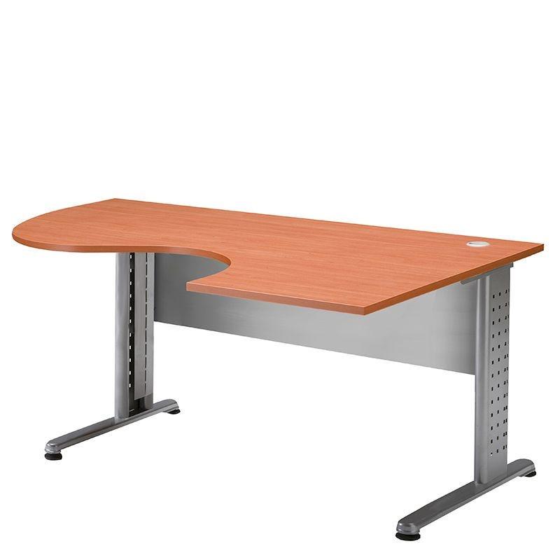 Bureau compact 180 cm retour à droite merisier/aluminium