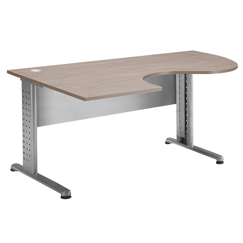 Bureau compact 180 cm retour à gauche chêne clair/aluminium