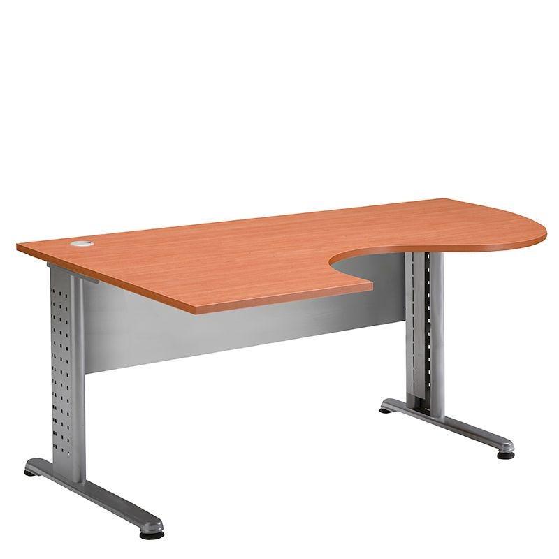Bureau compact 180 cm retour à gauche merisier/aluminium