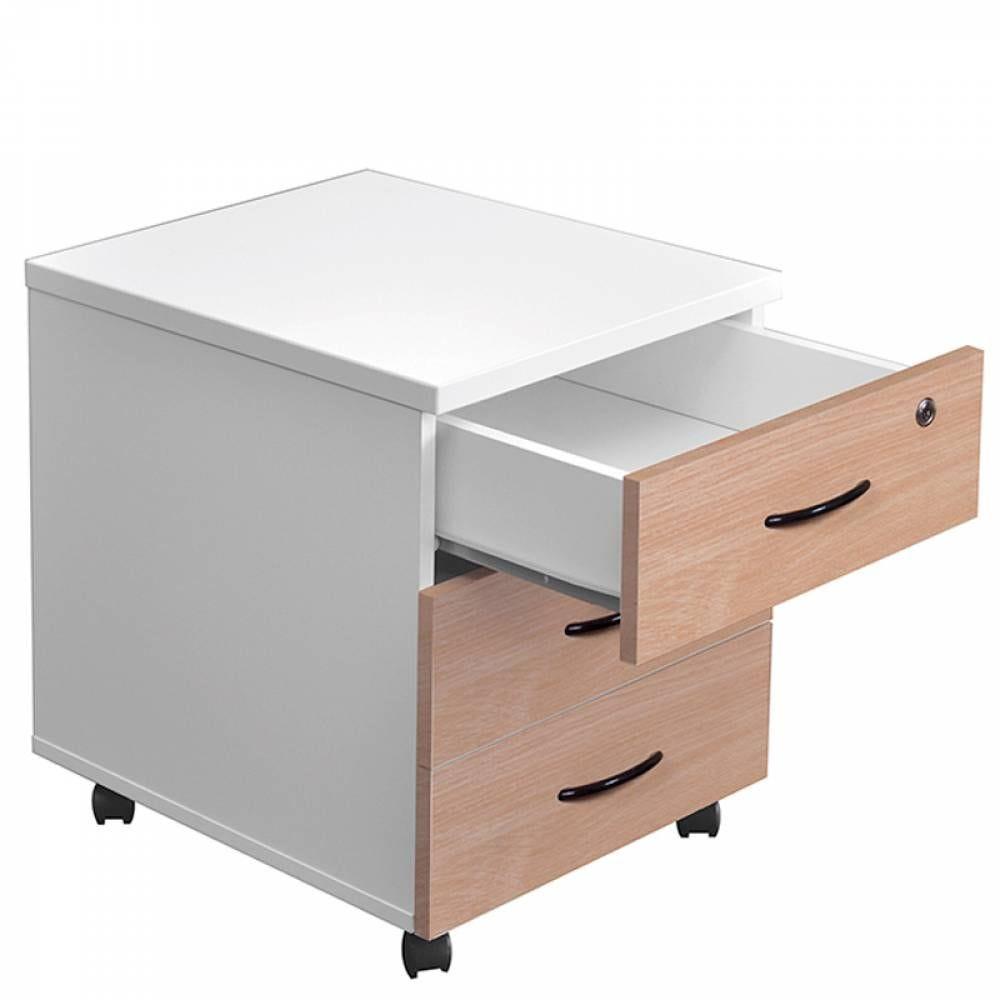 Caisson mobile 3 tiroirs hêtre/blanc