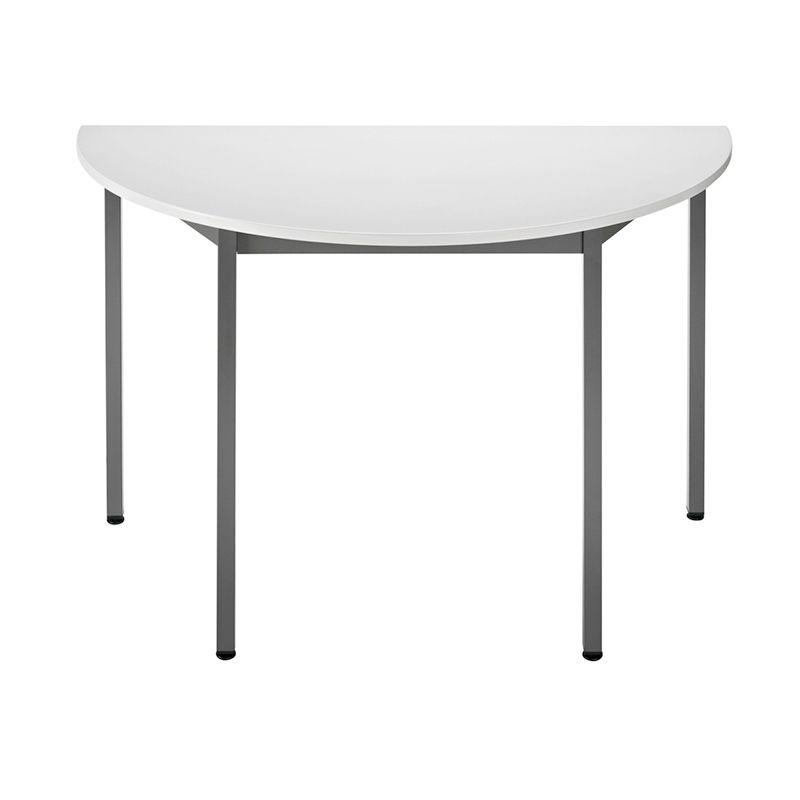 Table de réunion modulaire forme 1/2 ronde 120x60 cm gris/anthracite (photo)