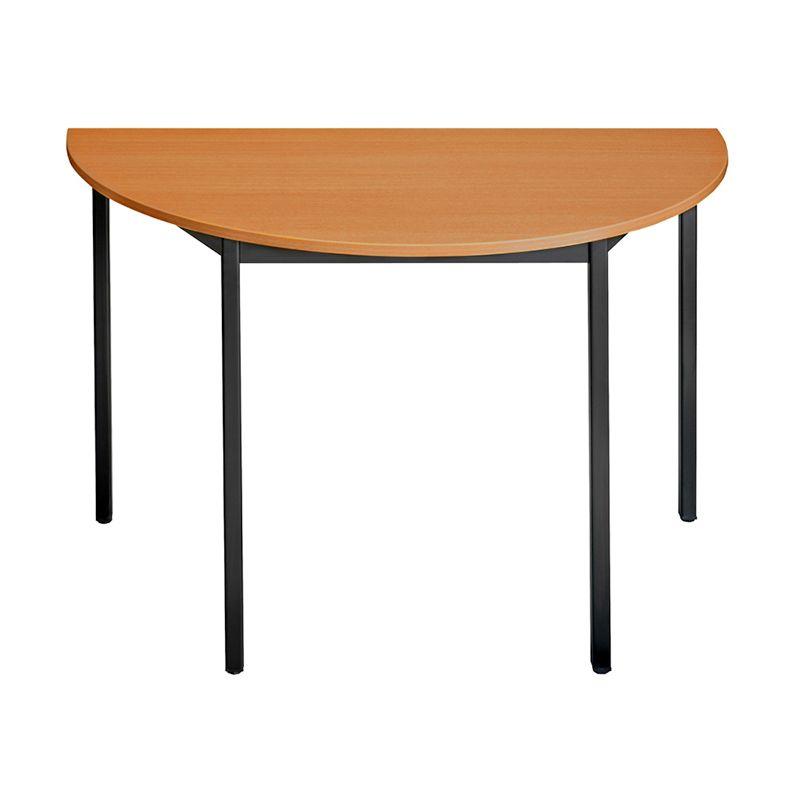 Table de réunion modulaire forme 1/2 ronde 120x60 cm merisier/noir (photo)