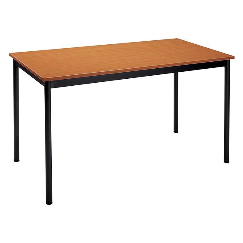 Table de réunion modulaire forme rectangle 120x60 cm merisier/noir (photo)