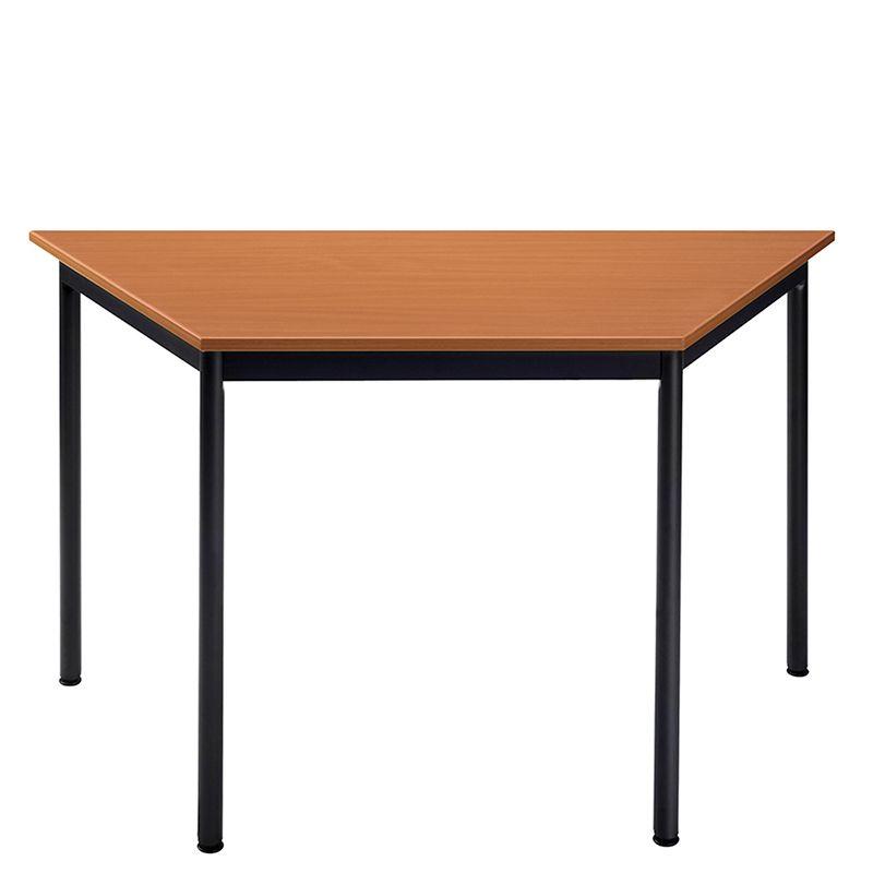 Table de réunion modulaire forme trapèze 120x60 cm merisier/noir (photo)