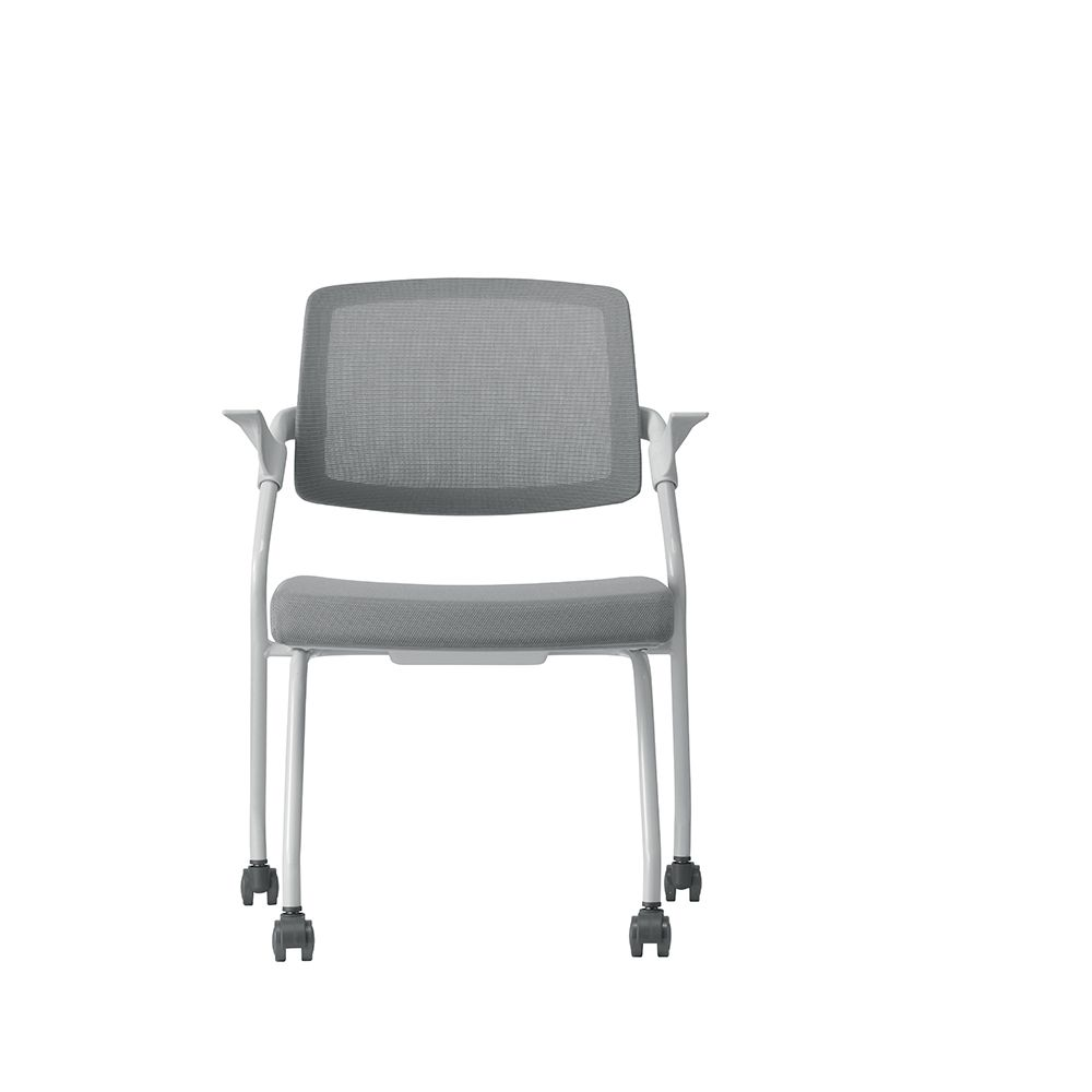 Fauteuil visiteur – assise en tissu et dossier résille basculant gris (photo)