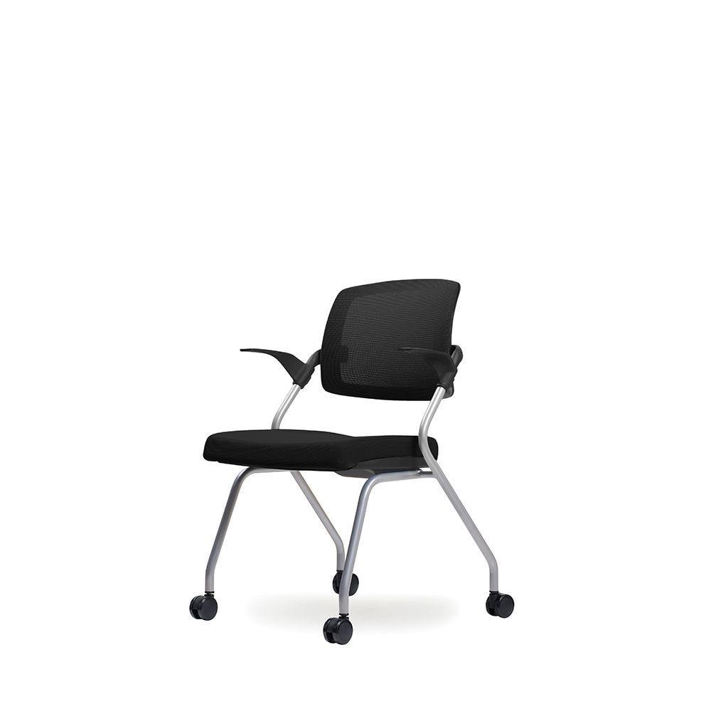 Fauteuil visiteur – assise en tissu et dossier résille basculant noir complet (photo)