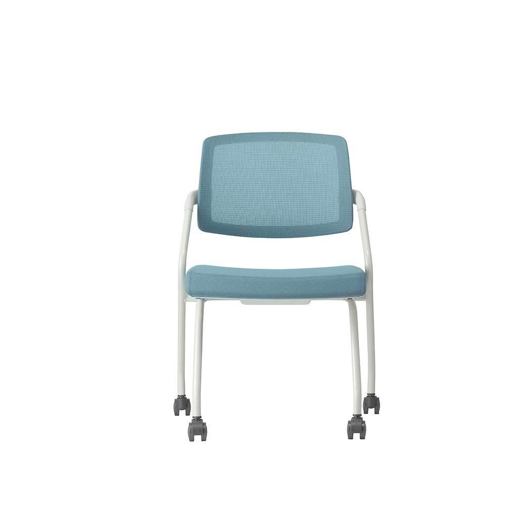 Fauteuil visiteur – assise en tissu et dossier résille basculant bleu (photo)