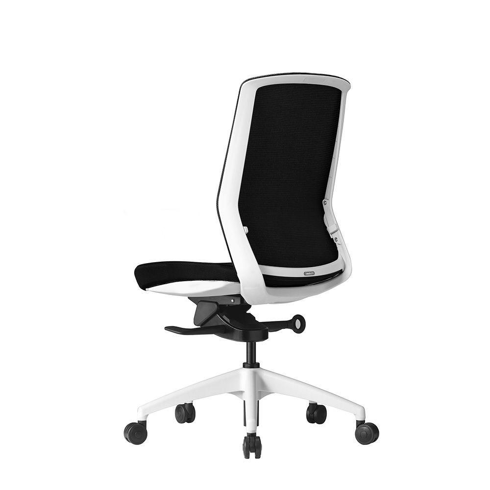 Fauteuil ergonomique - coque blanche, résille noire et tissu noir (photo)