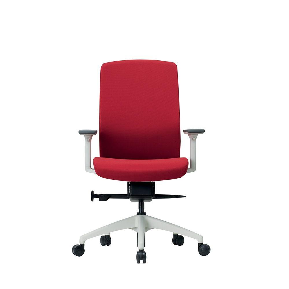 Fauteuil opérative ergonomique - coque blanche et tissu rouge (photo)