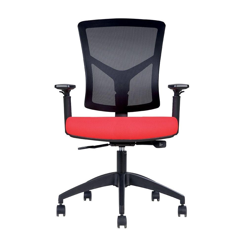 Fauteuil opérative ergonomique – dossier mesh noir, assise tissu rouge (photo)