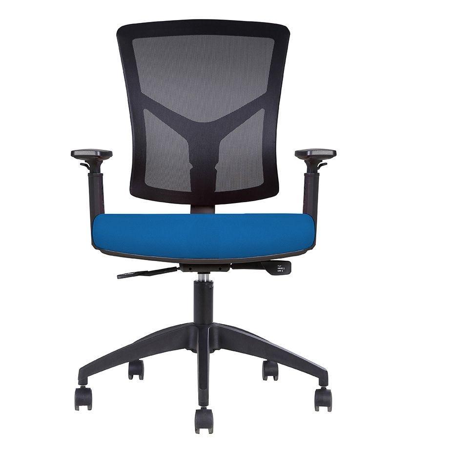 Fauteuil opérative ergonomique – dossier mesh noir, assise tissu bleu (photo)