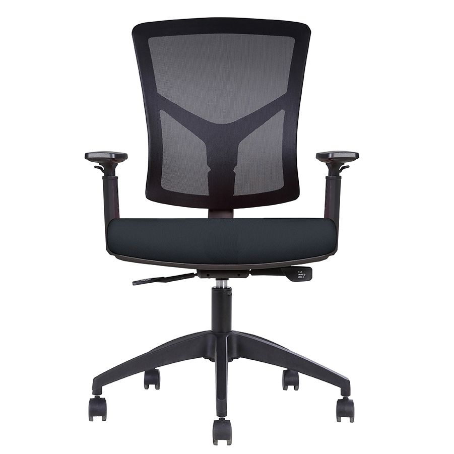 Fauteuil opérative ergonomique – dossier mesh, assise tissu noir (photo)