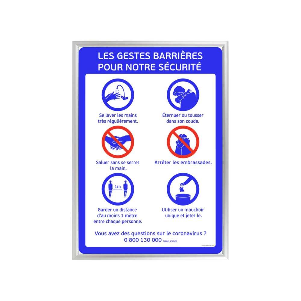 Cadre d'affichage format A1 en aluminium avec affiche ''GESTES BARRIÈRES''