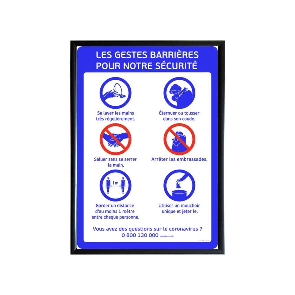 Cadre d'affichage format A1 en aluminium noir avec affiche ''GESTES BARRIÈRES''