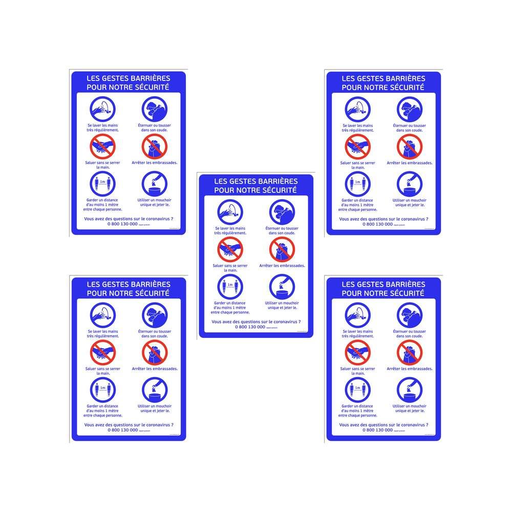Autocollant ''GESTES BARRIERES'' format A1 - Lot de 5