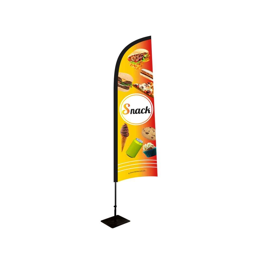 Drapeau Snack de dimensions 230 x 70 cm avec kit complet mât, platine et bouée