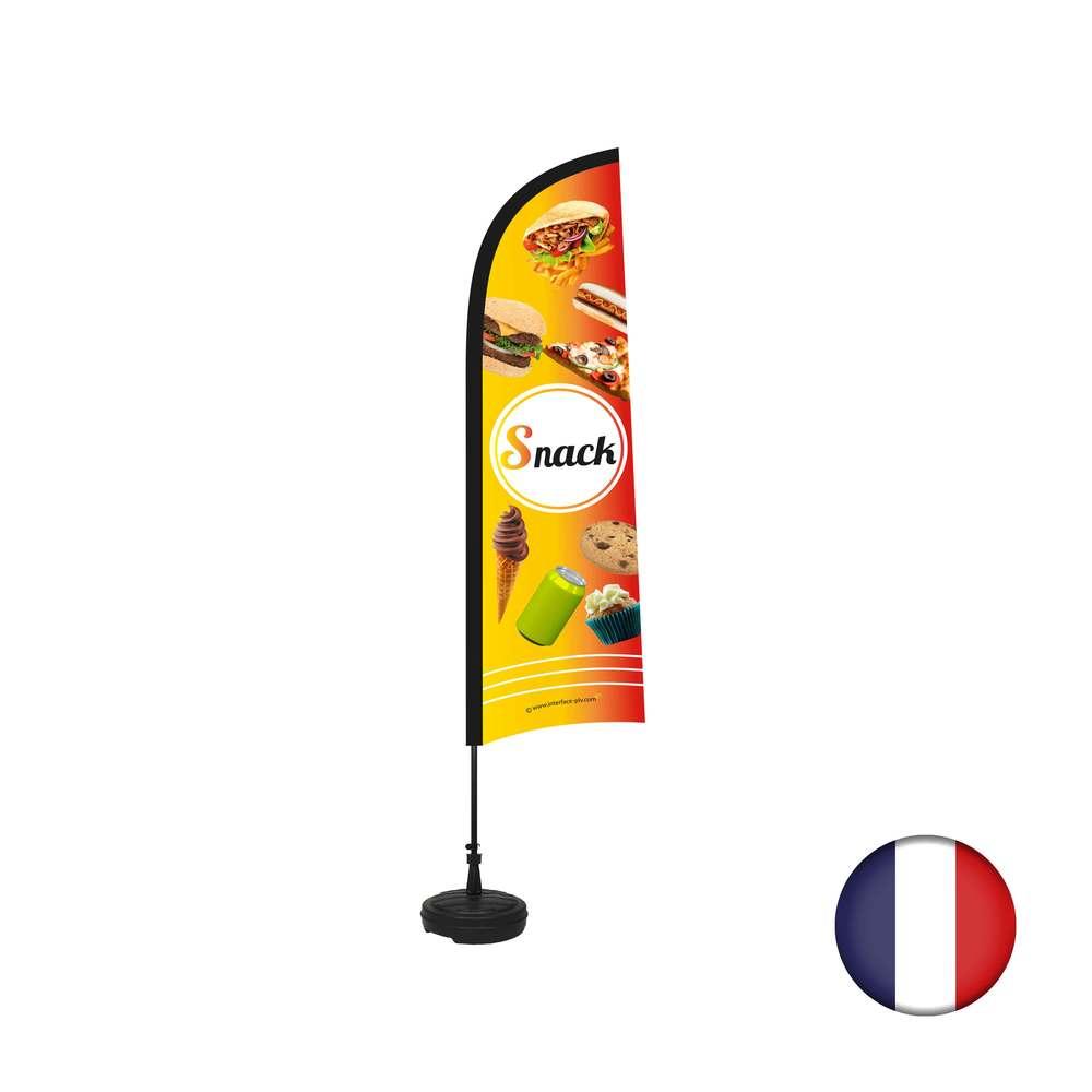 Drapeau Snack de dimensions 230 x 70 cm avec son kit socle plastique et mât