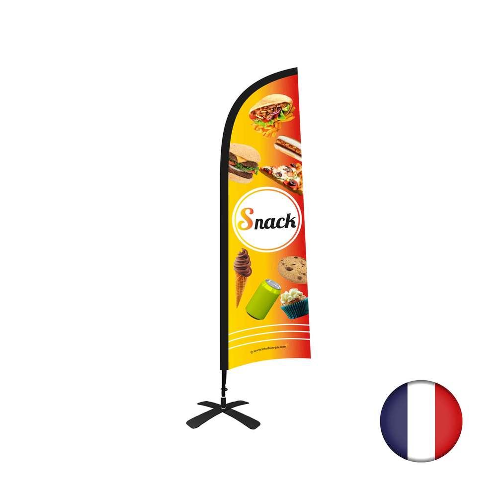 Drapeau Snack de dimensions 230 x 70 cm avec kit complet Tramontane
