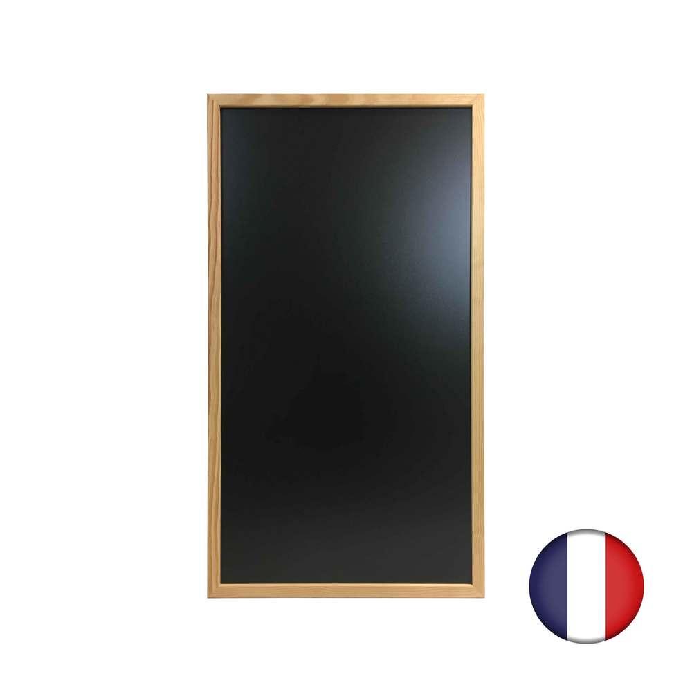 Ardoise murale cadre carré en bois brut dimensions 100 x 55 cm