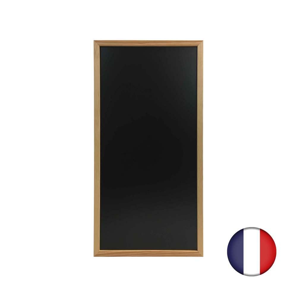 Ardoise murale cadre carré en bois brut dimensions 92 x 47 cm