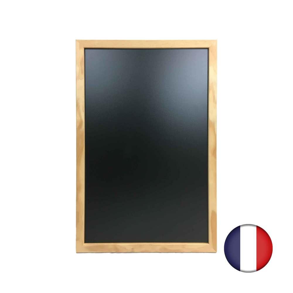Ardoise murale cadre carré en bois brut dimensions 63 x 43 cm