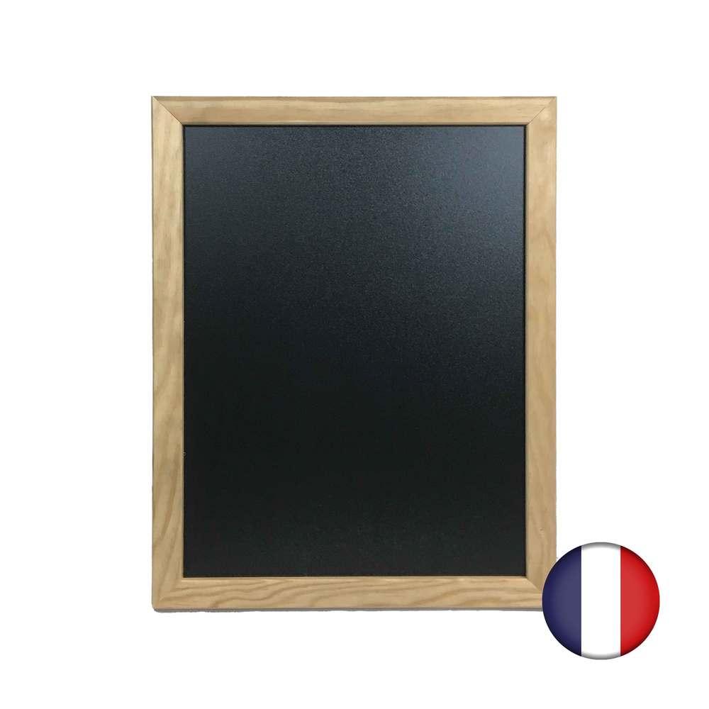Ardoise murale cadre carré en bois brut dimensions 43 x 33 cm