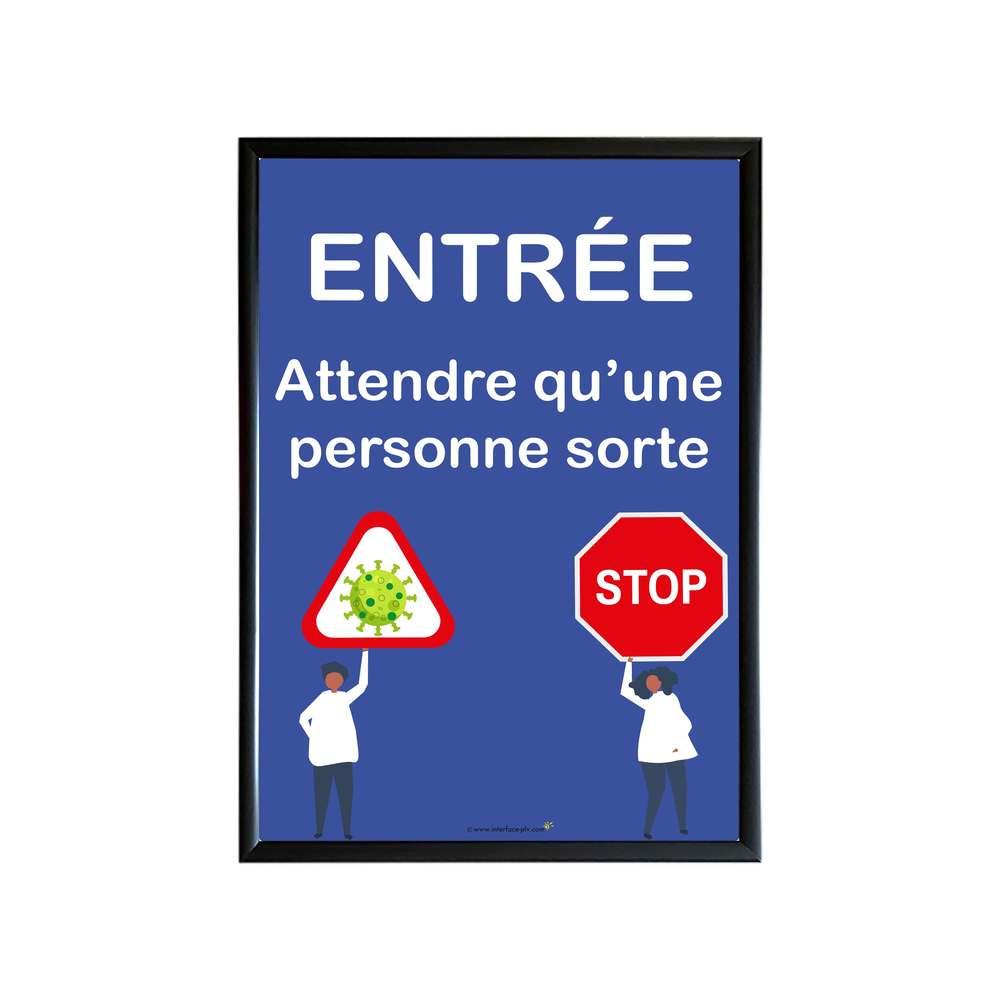 Cadre d'affichage A1 noir avec affiche 'ENTREE : ATTENDRE QU'UNE PERSONNE SORTE'