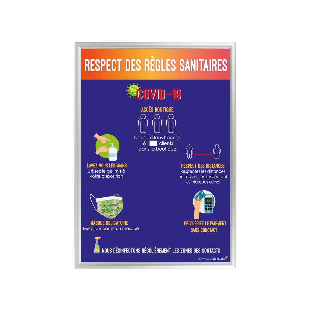 Cadre d'affichage format A1 en aluminium avec affiche 'RÈGLES SANITAIRES'