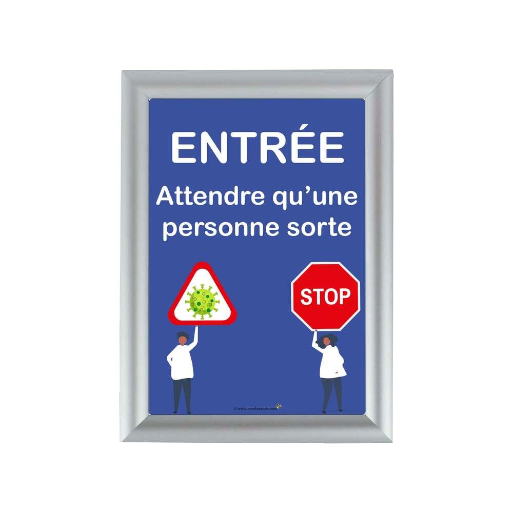 Cadre d'affichage A4 en alu avec affiche 'ENTREE ATTENDRE QU'UNE PERSONNE SORTE'