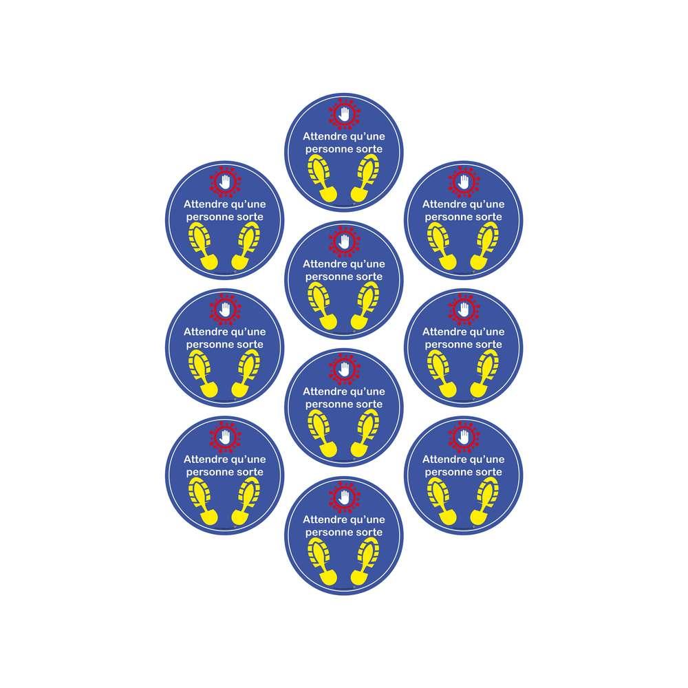 Adhésif pour sol 'ATTENDRE QU'UNE PERSONNE SORTE' de diamètre 30 cm - Lot de 10