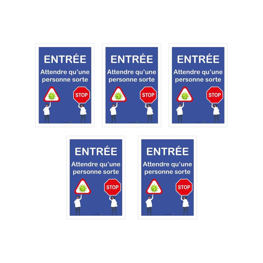 Autocollant 'ENTRÉE ATTENDRE QU'UNE PERSONNE SORTE' format A1 - Lot de 5