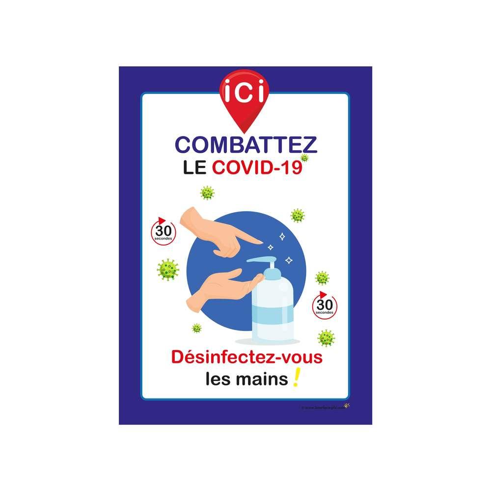 Autocollant 'ICI DESINFECTEZ-VOUS LES MAINS' format A3