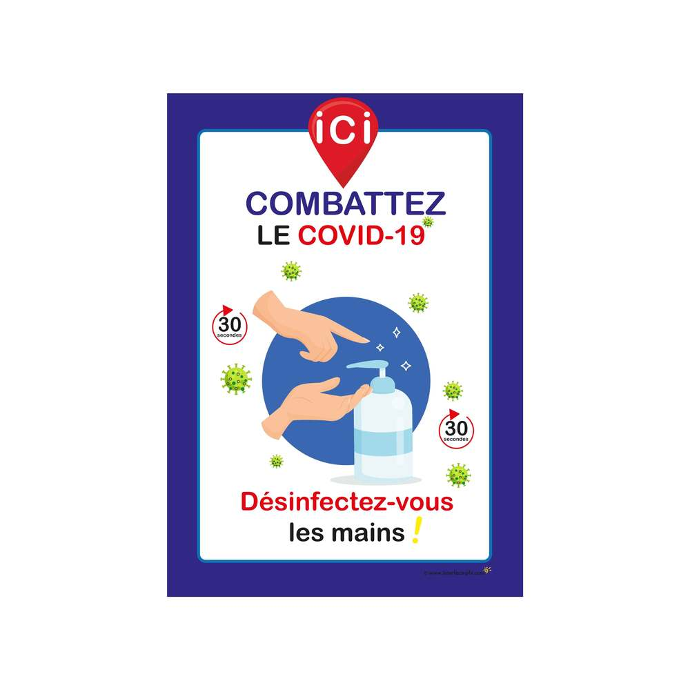 Autocollant 'ICI DESINFECTEZ-VOUS LES MAINS' format A4