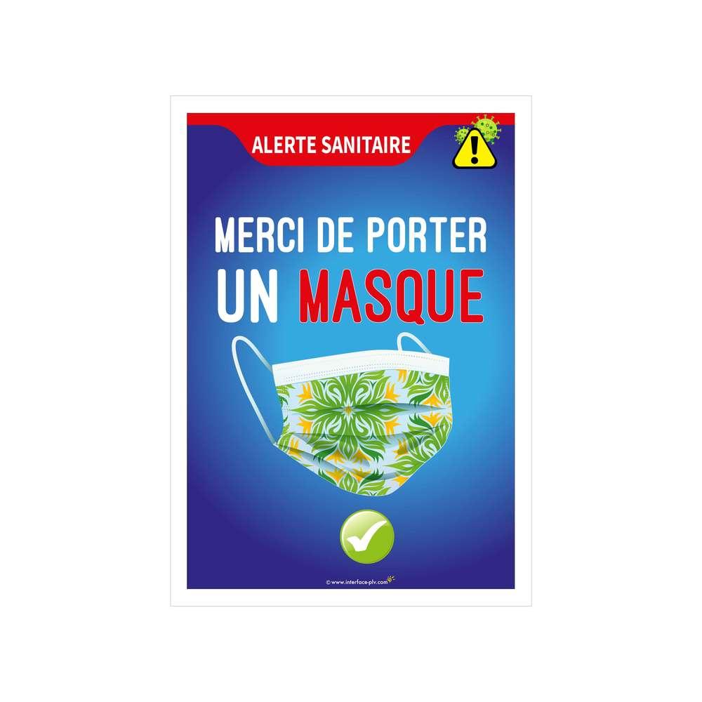 Autocollant 'MERCI DE PORTER UN MASQUE' format A3