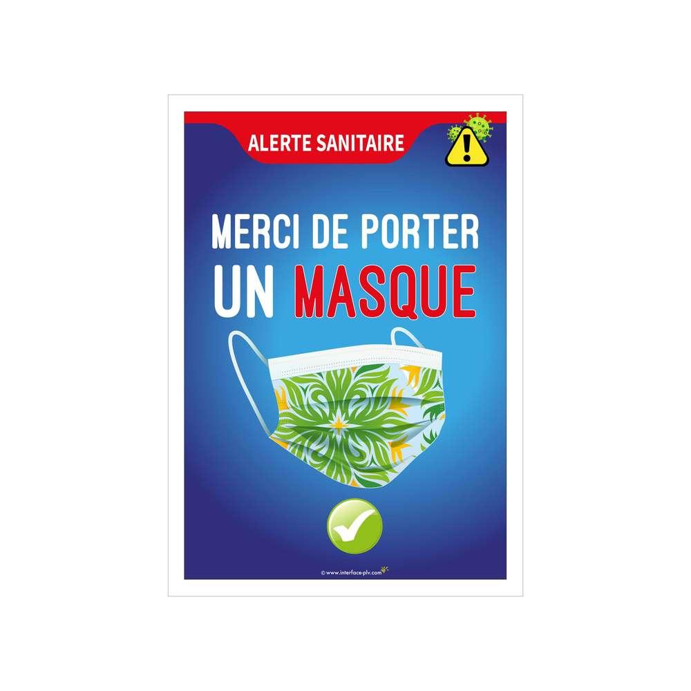 Autocollant 'MERCI DE PORTER UN MASQUE' de dimensions 27,5 x 19 cm