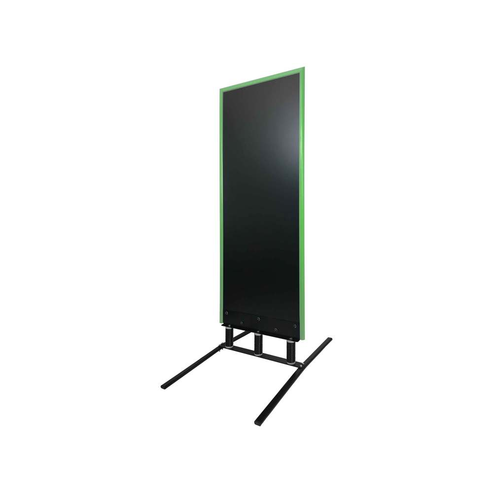Panneau trottoir grand vent sur 3 ressorts cadre vert dimensions 180 x 65 cm